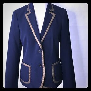 Anne Klein Navy Blazer with Gold Glitter trim Sz 8